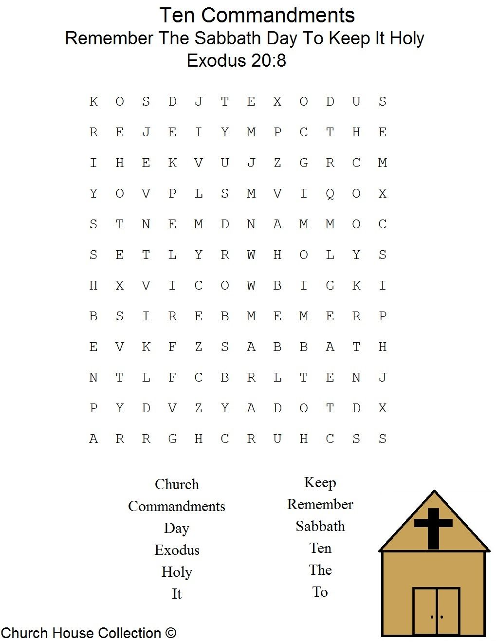 Remember The Sabbath Day To Keep It Holy Word Search Puzzle For