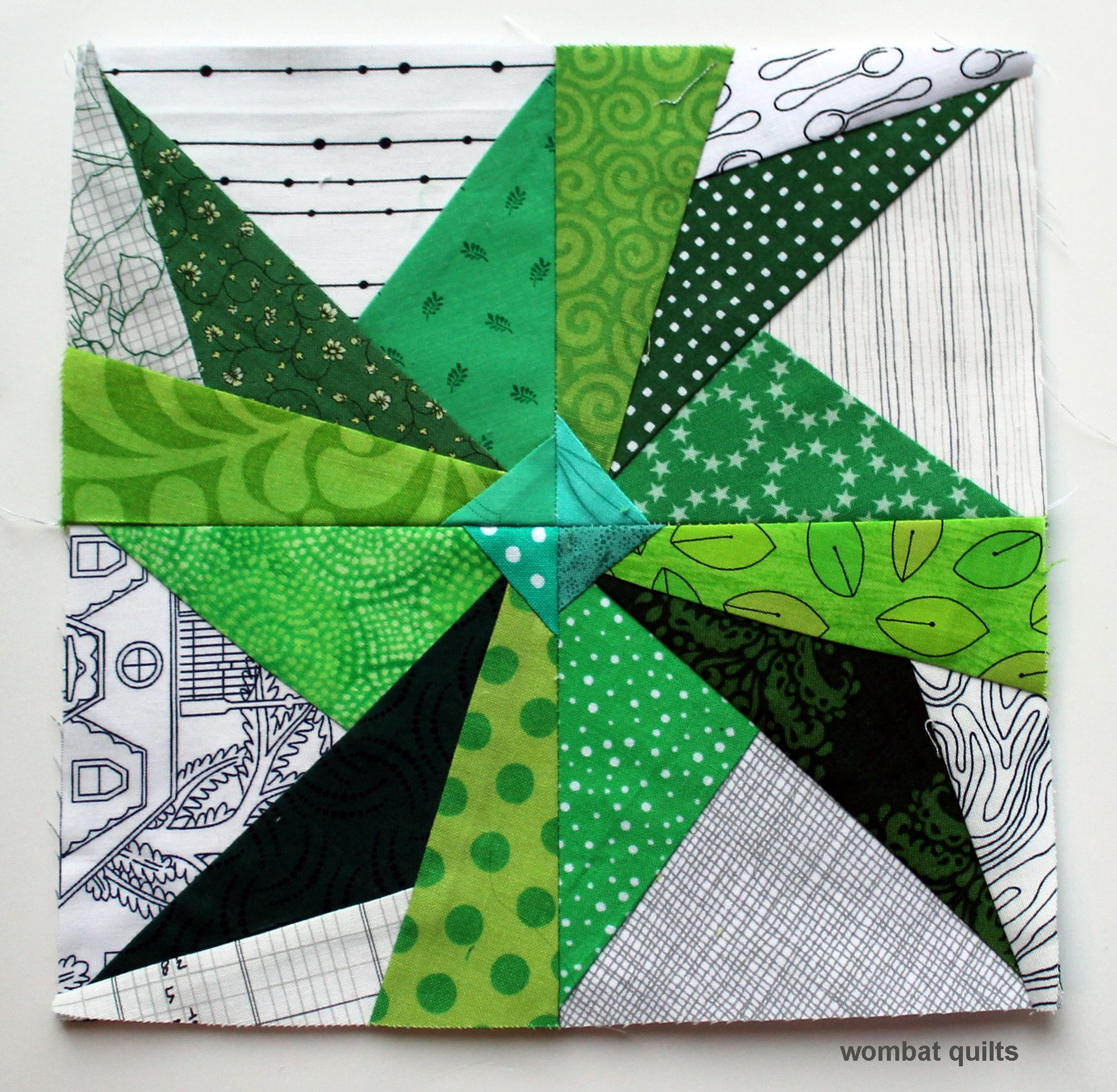 lovely! paper-pieced green & white fan star block, made by cath hall ...