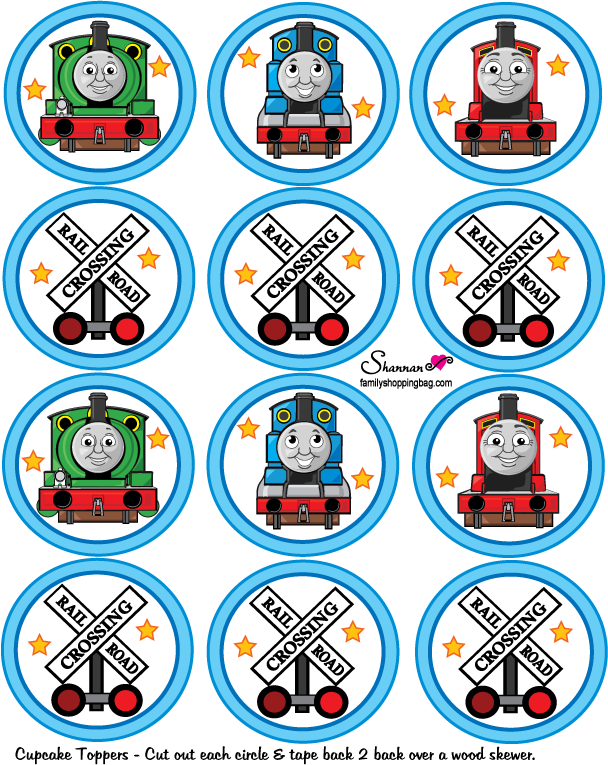 This is an image of Simplicity Free Printable Thomas the Train Cup Cake Toppers