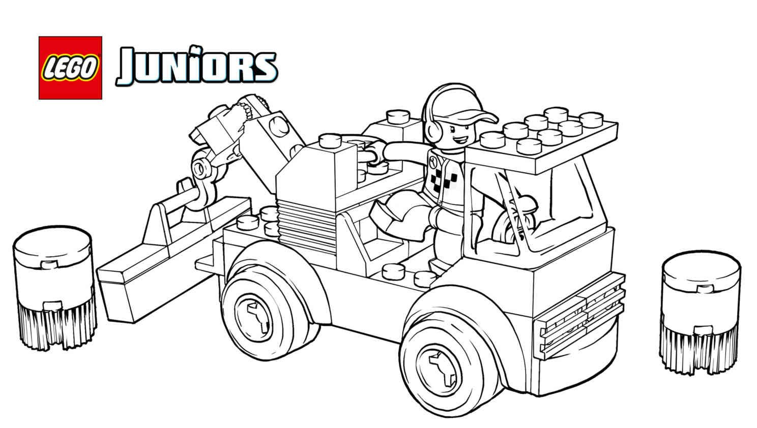 LEGO® Juniors Racetrack Tow Truck Coloring Page Truck