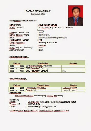Contoh CV yang Menarik Dalam Bentuk Word 2 di 2020