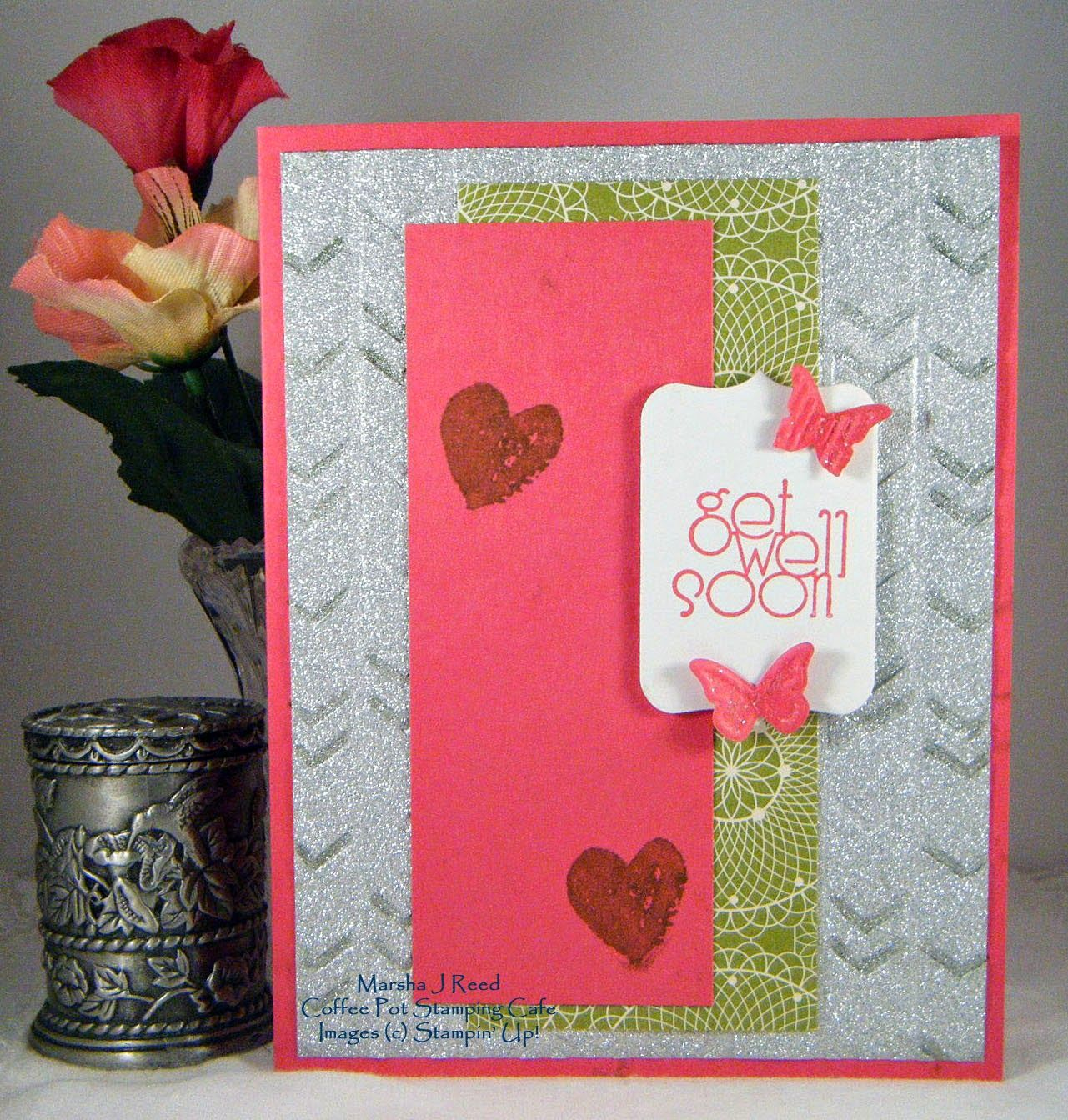 Stamp Sets:  Delightful Dozen, Work of Art (Stampin' Up!); Ink:  Melon Mambo; Stampin' Write Marker:  Lucky Limeade (Stampin' Up!); Card Stock:  Melon Mambo, Whisper White, Festival of Prints Designer Series Paper Stack - retired (Stampin' Up!), Glitzy Glitter Paper Stack (DCWV); Accessories  Tools:  Arrows Embossing Folder, Chalk Talk Framelits, Beautiful Wings Embosslit (Stampin' Up!), Distress Stickles (Ranger), Dimensionals
