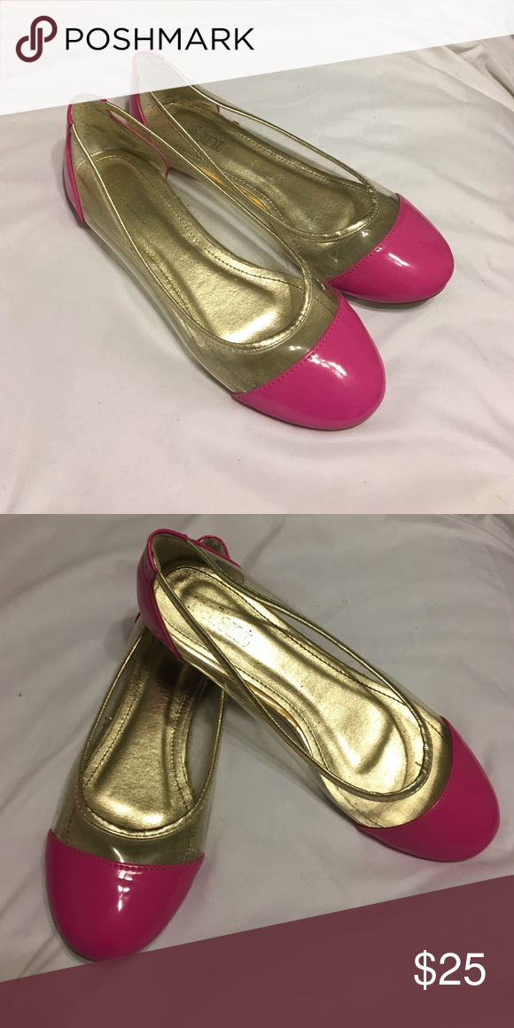 Metallic and Pink flats Clear on the sides and Pink in the front and back. Good condition worn a few times other Shoes Flats & Loafers