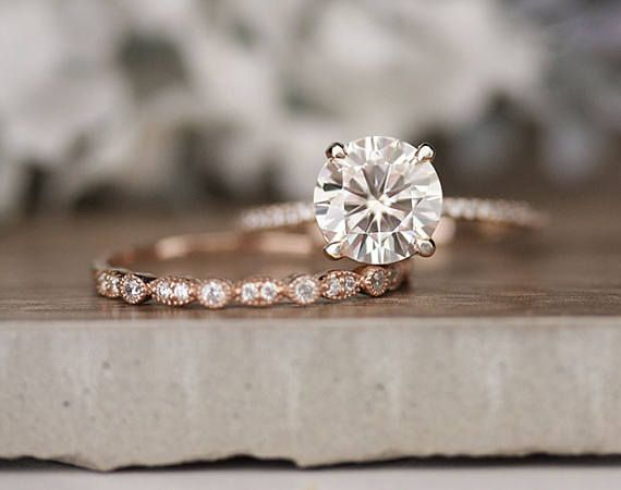 Rose Gold Engagement Ring Moissanite Round 7mm And Diamond Bridal