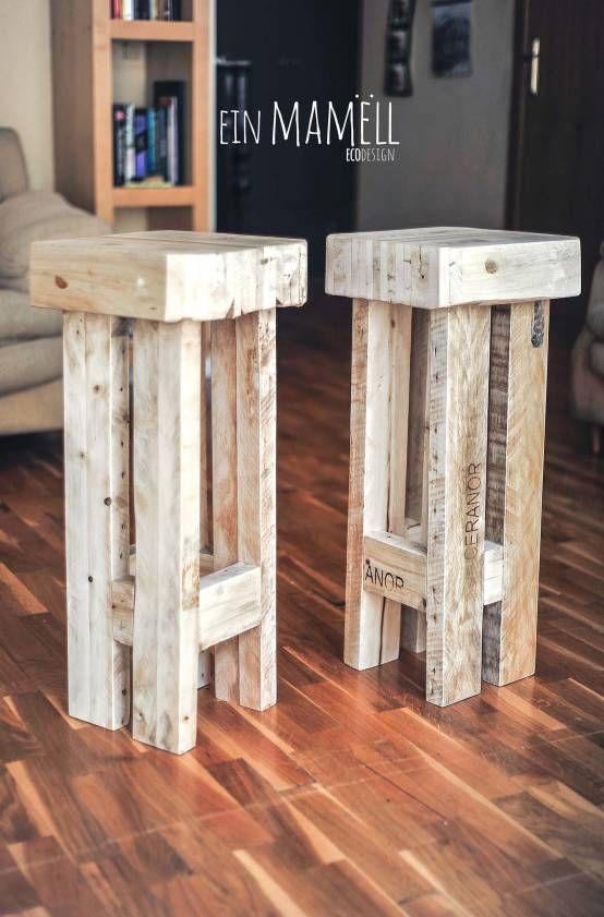 Sillas para una barra hechos con madera de palets buscar con google ideas para el hogar - Como hacer sillas con palets ...