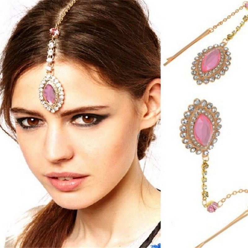 Water Drop Crystal Rhinestone Charm Pendant Hairpin Bindi Hair ...