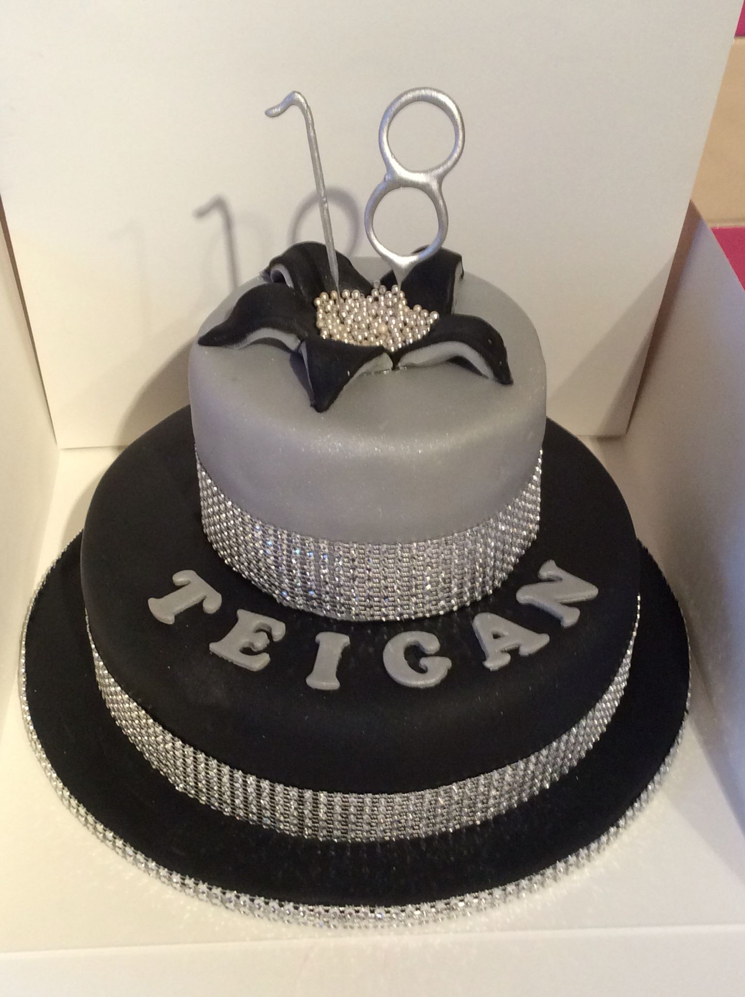 18th Birthday Black Silver And Bling Starburst Cake My
