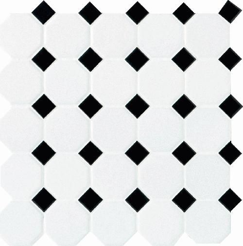 Daltile Octagon Dot Matte White With 21 Black Gloss Dot Mosaik