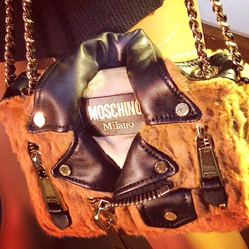 Image via We Heart It #fashion #Moschino #moschinobag #elisabettabertolini #moschinofw2016 #bikerbearbag #cultbag #peluchebag