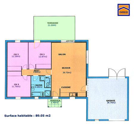 Plan maison plain pied 3 chambres maisons pinterest for Plan maison plain pied 3 chambres 1 bureau