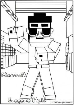 Free Printable Minecraft Gangnam Style Coloring Page For Kids Free Online Print Minecraft Coloring Pages Minecraft Printables Free Kids Coloring Pages