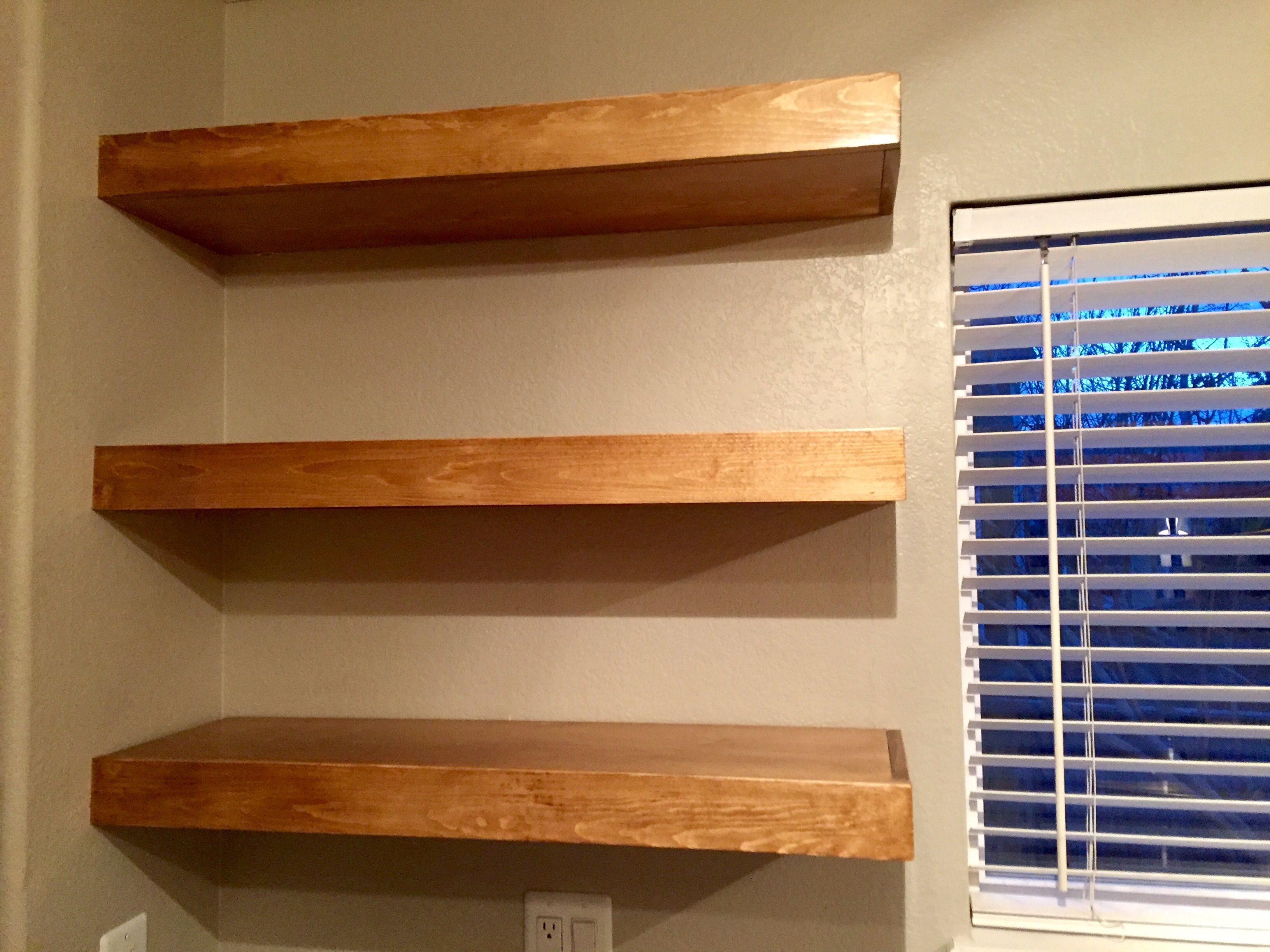 Kitchen Floating Shelves Early American Minwax Stain 3 Coats Clear Oil Based Polyurethane 0000 Steel Wool Floating Shelves Shelves Minwax Stain