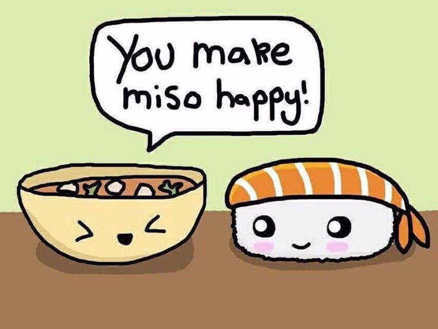 """Jajaja! Me ha encantado esta foto de @freedomjapanesemarket con la foto de miso diciéndole al sushi """"you make ME SO (sopa de miso) happy"""" (me haces muy feliz). Qué juego de palabras tan divertido!  Me sirve también para recordaros que en unas horas probamos las chuches japonesas que nos han enviado de #FreedomJapaneseMarket y que también nos han enviado UNA CAJA PARA SORTEAR!! No os lo perdáis porque sé que muchos estáis deseando probar los dulces japoneses!! #japanesecandy #japanesesnack"""
