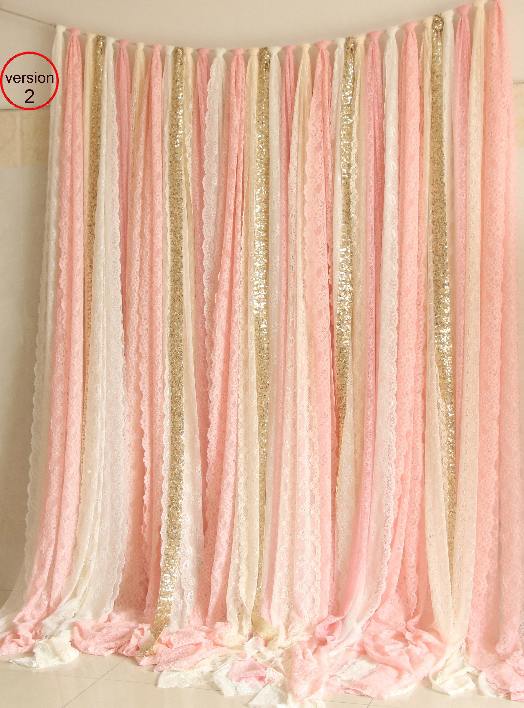 Blush Pink White Lace Fabric Gold Sparkle Photobooth Backdrop