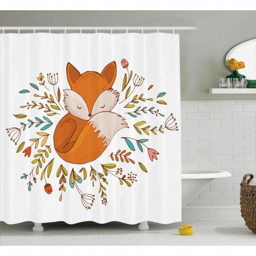 Cartoon Shower Curtain Cute Baby Fox Flowers Print For Bathroom Ve Diğer Fon Perde Modelleriyle ücretsi Bathroom Decor Sets Shower Curtain Hooks Bathroom Decor
