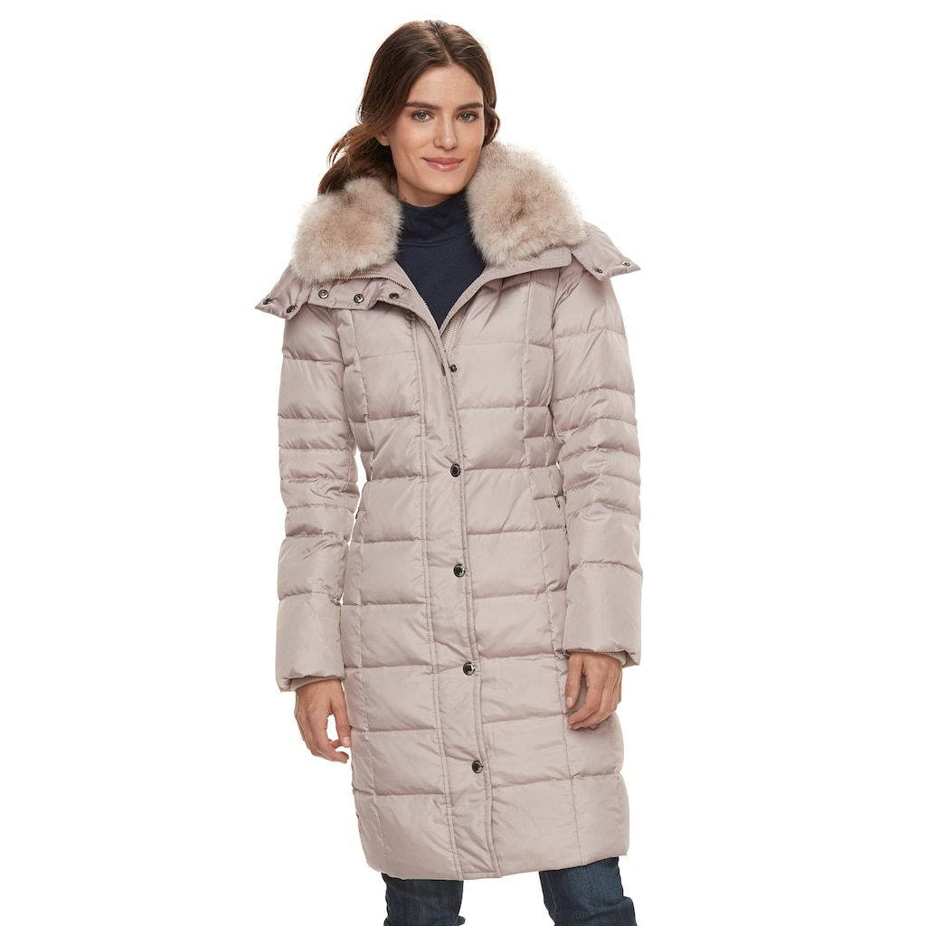4c97cc6f471 London Fog Tower By Women s TOWER by Long Faux-Fur Trim Down Puffer ...