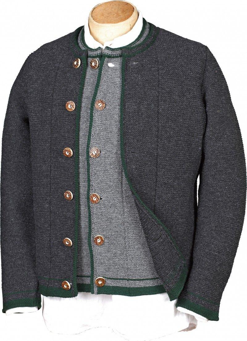 267a0e85e43694 Wunderschöne traditionelle Strickjacke überzeugt mit trachtigen Details.  Eine gestrickte graue Jacke, ein unverzichtbares trachtiges Basic für die  Herren, ...