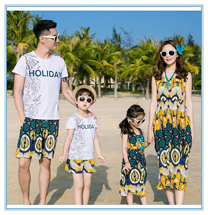 dd75849a1a3 Amazon.com  Elufly Summer Family Matching Outfits Floral Mommy Daughter  Dresses  amp  Daddy