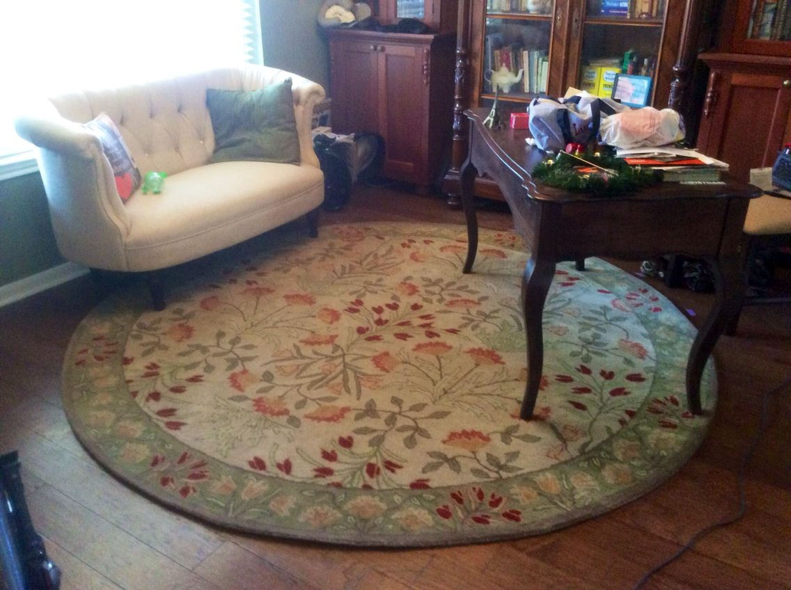 New Rug For Our Office Library 8 Round Green Adeline Rug Multi Pottery Barn Love Seat Is The Erin Cute As A Button Love Seat Home Decor Arizona House #pottery #barn #living #room #rugs