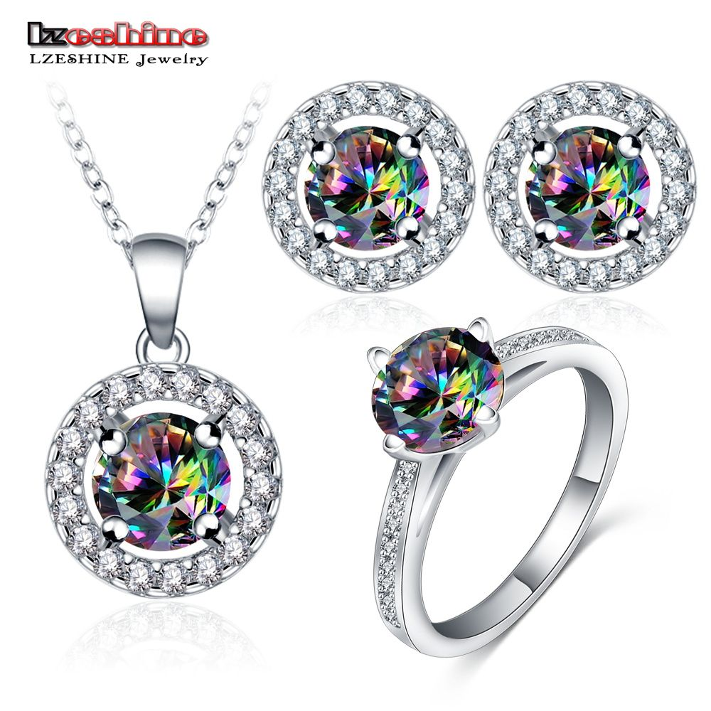 Lzeshine fashion rainbow cubic zircon jewelry sets for wedding