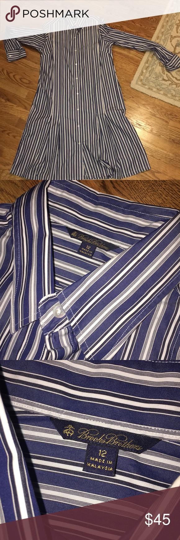 d65388394c15 Brooks Brothers Shirt Dress EUC blue and white striped 100% cotton shirt  dress.
