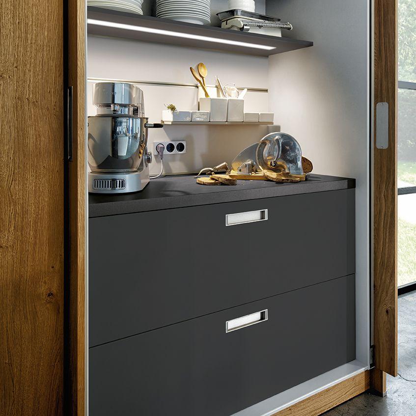 next125 nx 502 sandgrau matt schrank mit versteckter arbeitsplatte und k chenger ten. Black Bedroom Furniture Sets. Home Design Ideas