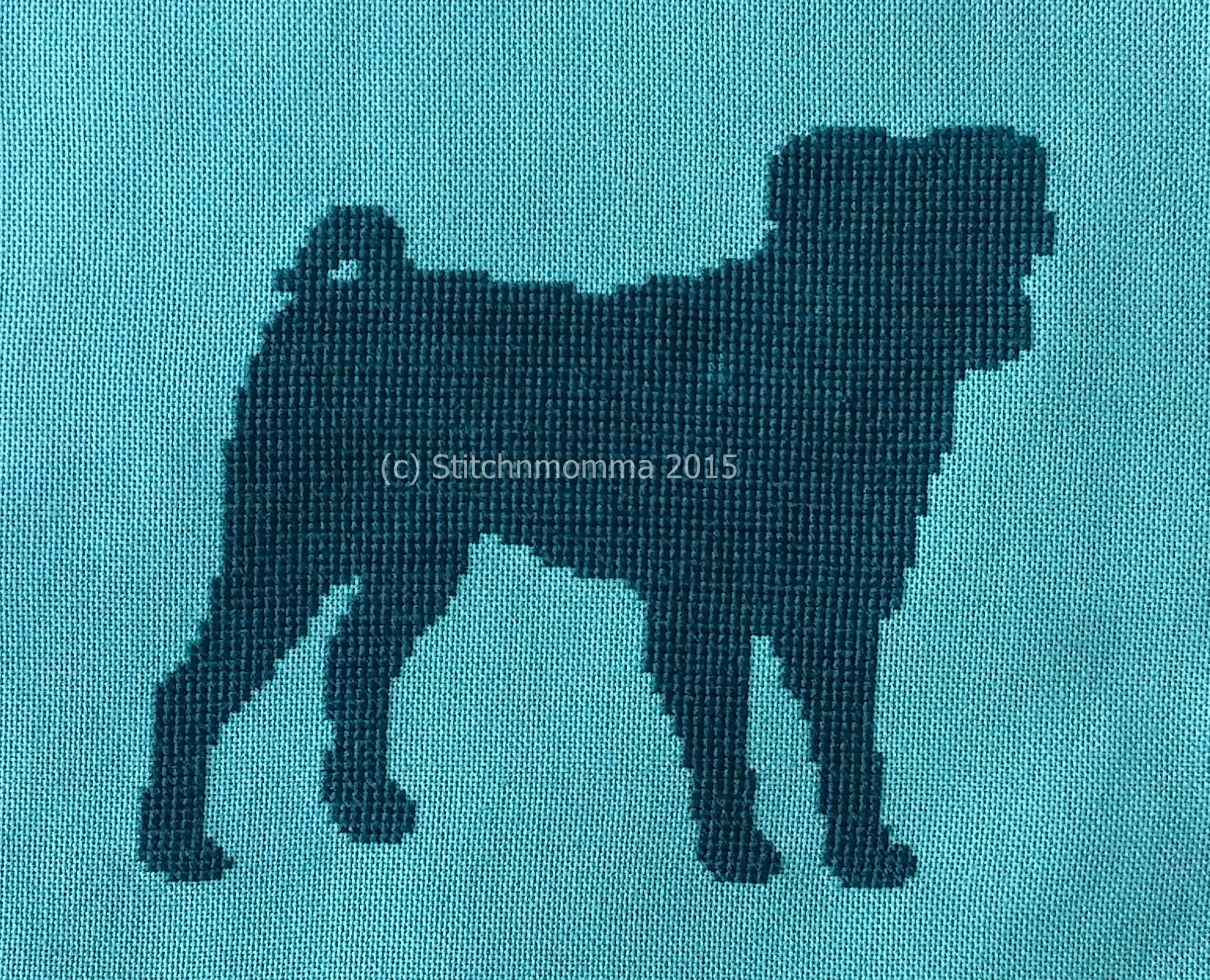 STITCHNMOMMA: Pug Silhouette #CrossStitch #Dog