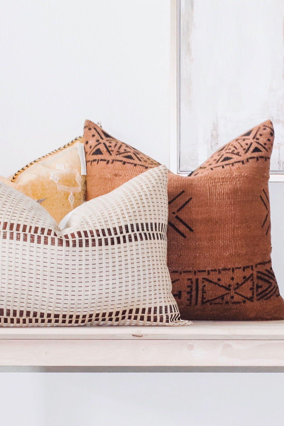 African Handwoven Textured Lumbar Throw Pillow Cover This Lumbar