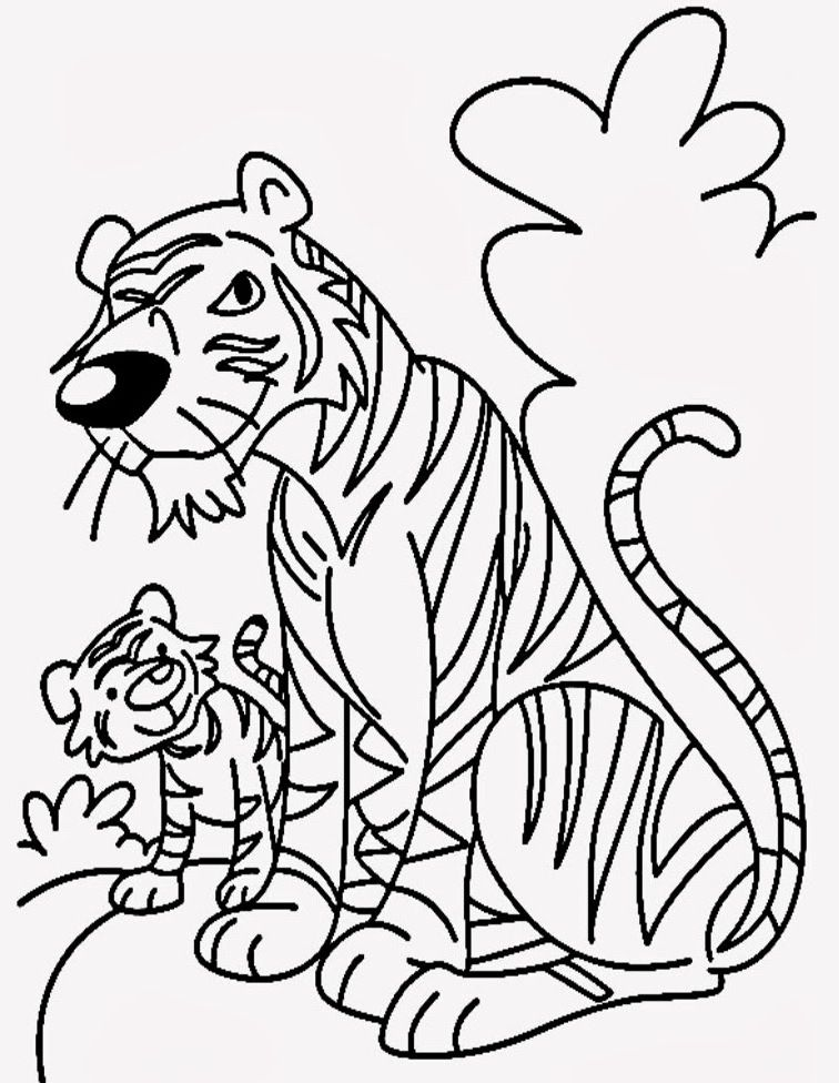 Cartoon Tiger Coloring Pages For Kids  httpwwwkidscpcom