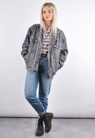 90S GREY WRANGLER VINTAGE OVERSIZED DENIM JACKET  57e2f8139b