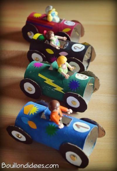 DIY enfant récup : Voiture de course avec rouleau en carton – Idées conseils et tuto Activité manuelle enfant