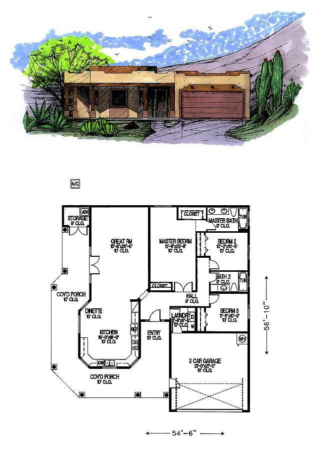 Southwest Style House Plan 54607 With 3 Bed 2 Bath 2 Car Garage Beach House Floor Plans Beach House Plans Sims House Design
