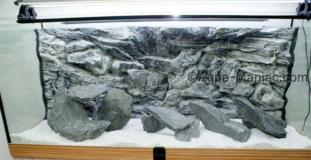 Grey natural rocks and 3d aquarium background from aqua for Aquarium background decoration