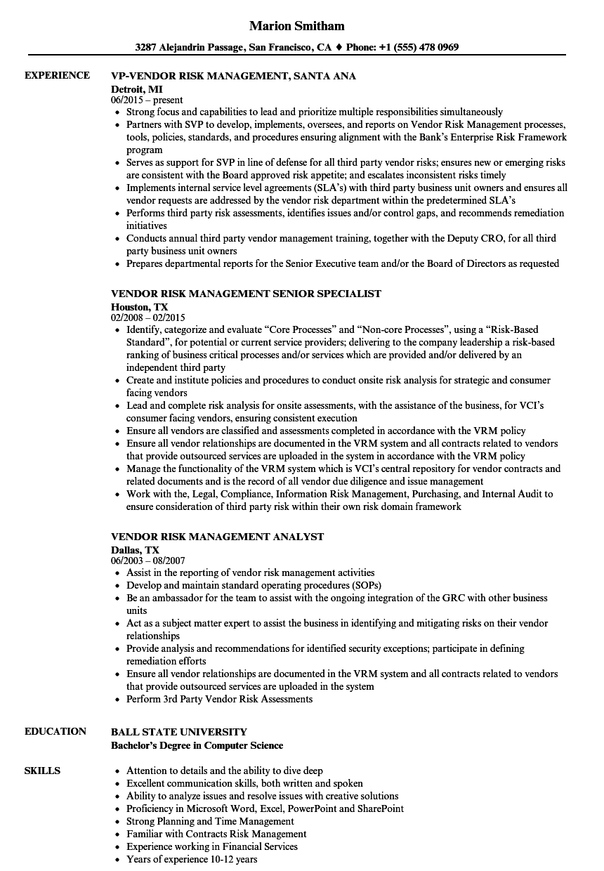 Resume Examples Vendor Management Resume Templates Resume Examples Job Resume Examples Resume