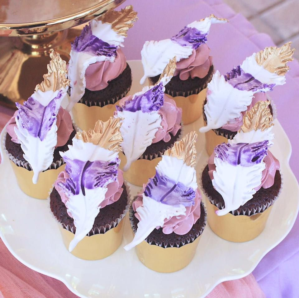 feather themed cookies in luxe purple and gold by My Petite Sweets, Perth