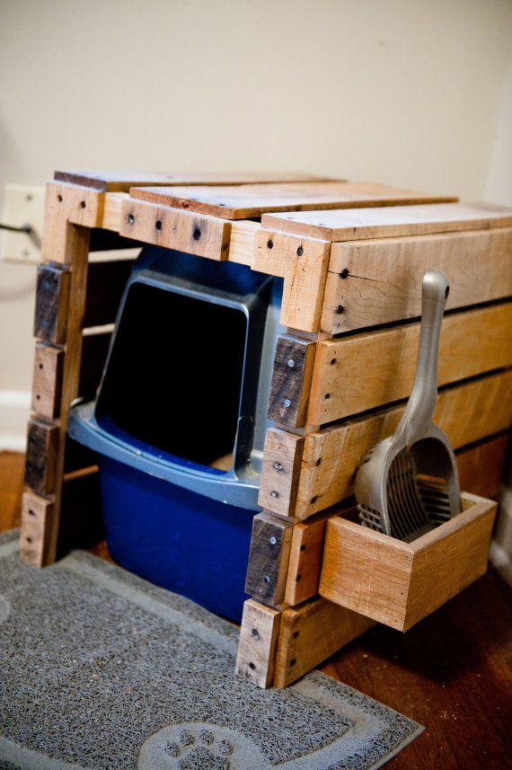 Cat Litter Box Hideaway W Scoop Reclaimed By Atomizedconcepts