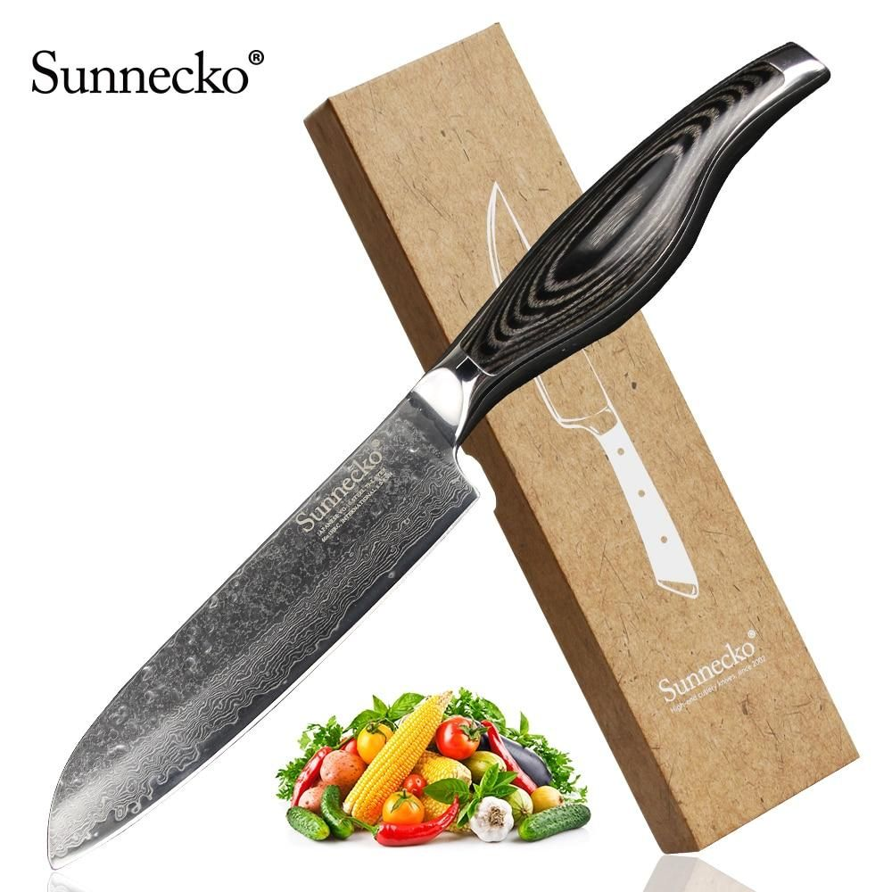 Sunnecko 5 Inches Santoku Knife Japanese Vg10 Steel Kitchen Knives Damascus Chef Knife Pakka Wood Handle Sharp Cooking Tools Japanese Kitchen Knives Kitchen Knives Knife