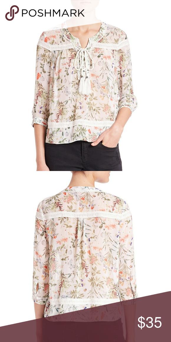 6c1e18e103c The Kooples Botanic Print Chiffon too Worn & in good condition. No flaws.  DETAILS & CARE Romantic bohemian undertones define a floral-print chiffon  blouse ...
