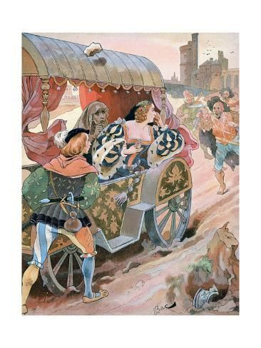size: 24x18in Giclee Print: Attack on a Carriage, Quai De Nesles, Reign of Francis I, 16th Century, C1870-1950 by Ferdinand Sigismund Bac :