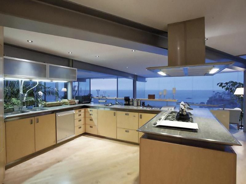 Contemporary Kitchen Modern Beach House Large Glass Wall