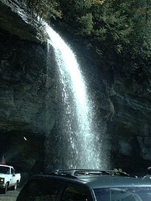Bridal veil falls is a 45 foot waterfall located in the for Cabine sospese di rock state park nc