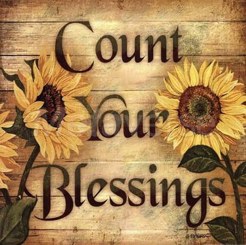 Count Your Blessings Sunflowers On Faux Wooden Background