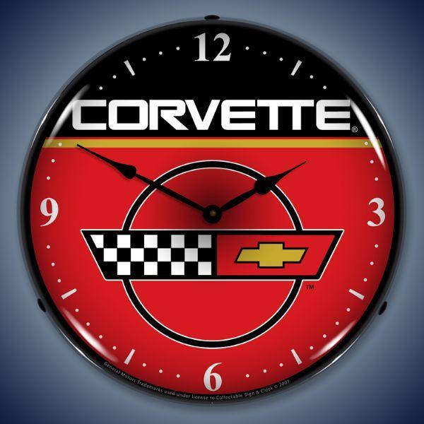 C4 Corvette Lighted Clock Wall Clock Light Corvette Clock Vintage Clock