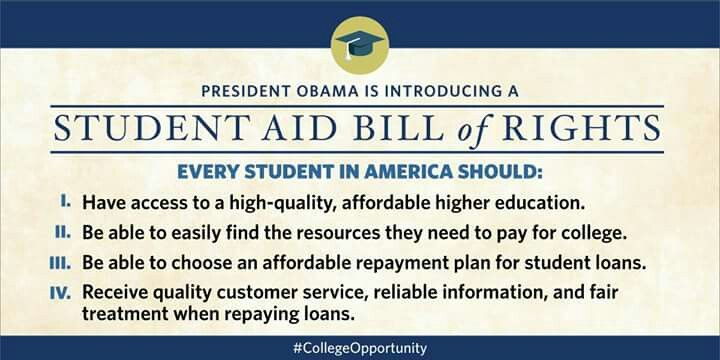 Please sign and share the Student Aid Bill of Rights to keep college affordable and help with the burden of #studentloans. http://www.whitehouse.gov/webform/college-opportunity