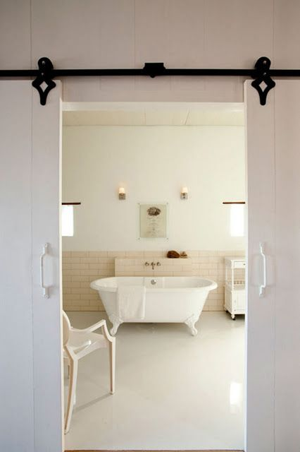Split Hanging Door For The Bathroom I Really Would Like To See This In My House Interior Barn Doors Home Doors Interior