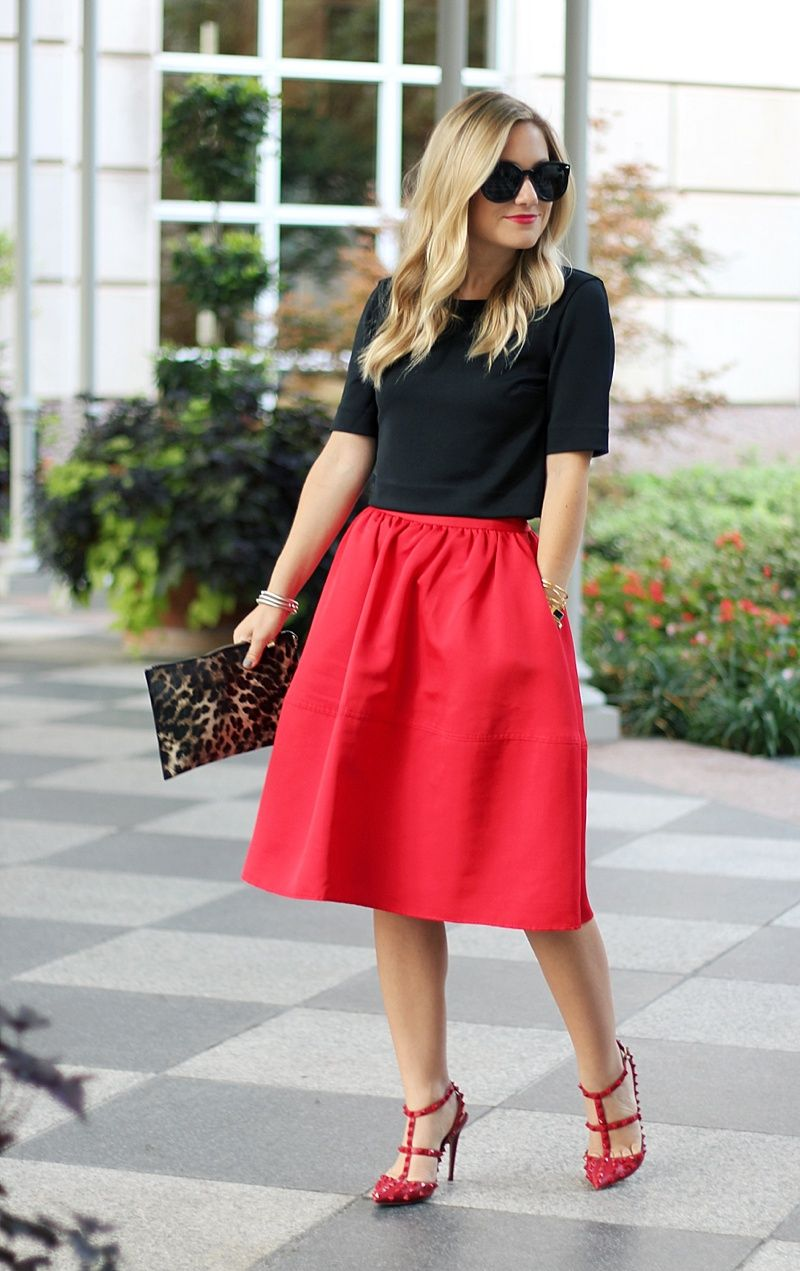 Express Skirt, Midi Skirt, Red Midi Skirt, Parisian Chic. Holiday ...