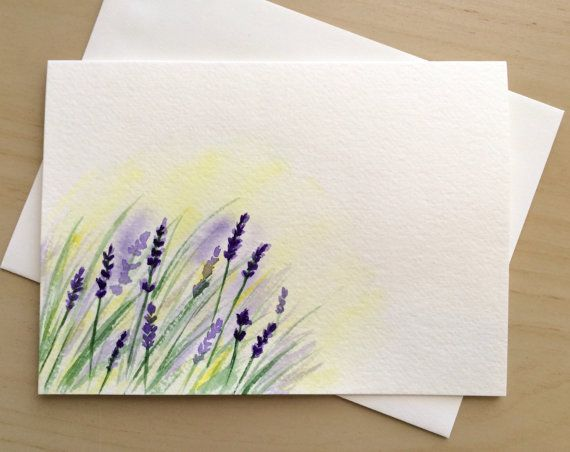 Hand Painted Greeting Card 5x7 Lavender Blank Card Original