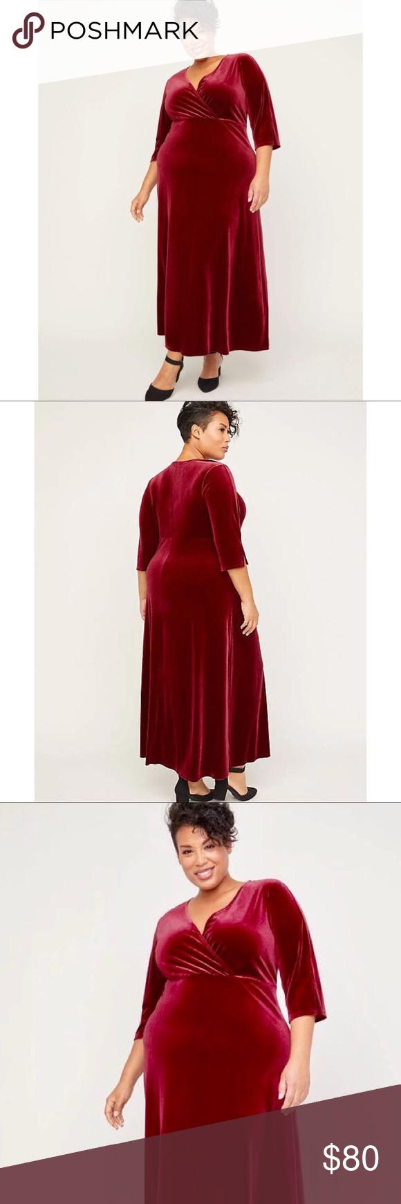 Photo of PLUS SIZE Velvet Faux Wrap Dress CATHERINES / RED VELVET FAUX WRAP DRESS US PLUS…