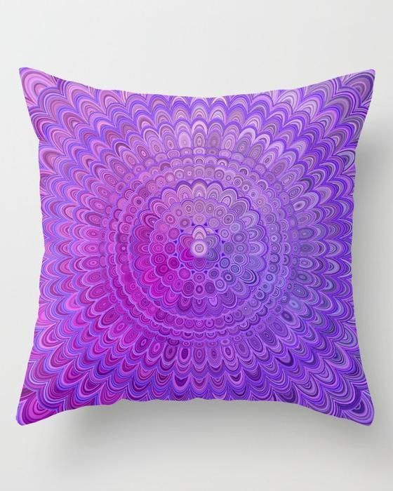 Cosy Bedroom Mandala Flower in Violet Tones Throw Pillow by David Zydd | purple boho throw pillows #MandalaPillow #purple #violet #mandalas #pillow #cushion #throwpillow #room #homedecorideas #decor #boho #mandaladecor #flower #floralmandala #design #giftideas #christmasgift #CosyBedroom #ModernBedroom #IndustrialBedroom