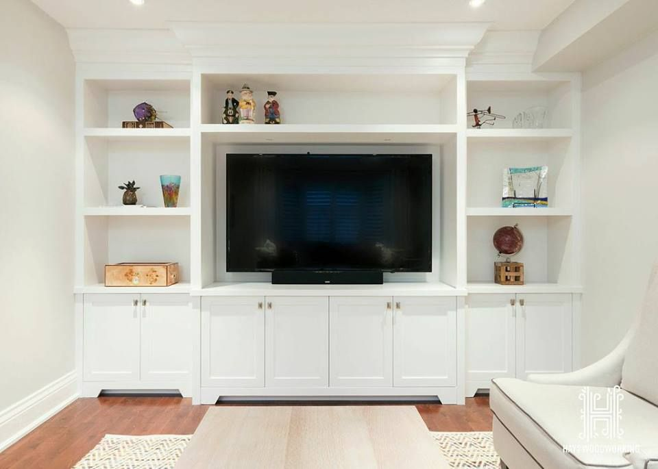 Built In Entertainment Unit W Open Display Shelving And Pot Lighting Up Top And Storage Cabinets Below I Entertainment Unit Modern Room Entertaining Decor